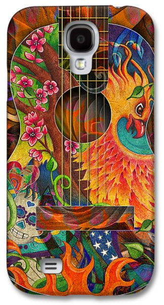 Cherry Blossoms Drawings Galaxy S4 Cases - Bird of Fire Guitar Galaxy S4 Case by Julie Oakes