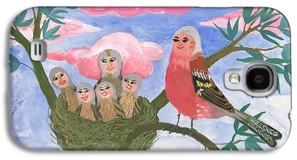 Fantasy Ceramics Galaxy S4 Cases - Bird people The Chaffinch Family Galaxy S4 Case by Sushila Burgess