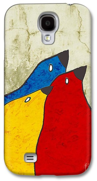 Blue Abstracts Galaxy S4 Cases - Birdies - v112t100b3 Galaxy S4 Case by Variance Collections