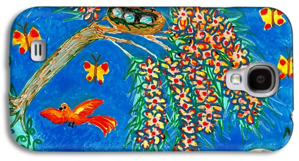 Bird Ceramics Galaxy S4 Cases - Birds and nest in flowering tree Galaxy S4 Case by Sushila Burgess