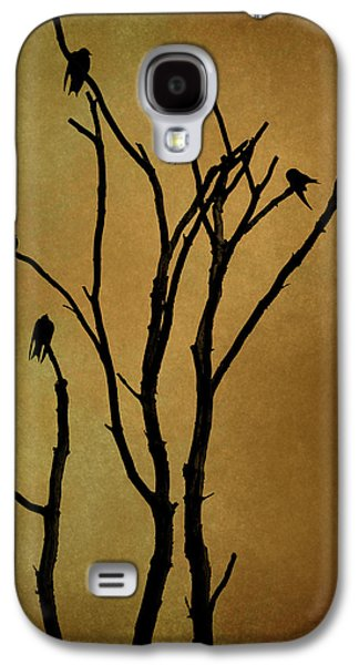 Black Top Digital Art Galaxy S4 Cases - Birds in Tree Galaxy S4 Case by David Gordon