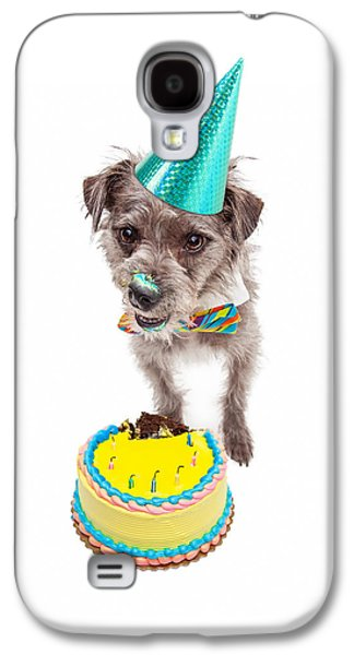 Party Birthday Party Galaxy S4 Cases - Birthday Dog Eating Cake Galaxy S4 Case by Susan  Schmitz