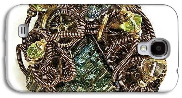 Jordan Jewelry Galaxy S4 Cases - Bismuth Uranium Vaseline Glass Swarovski Crystal and Quartz Steampunk Pendant in Bronze STMBSM39 Galaxy S4 Case by Heather Jordan