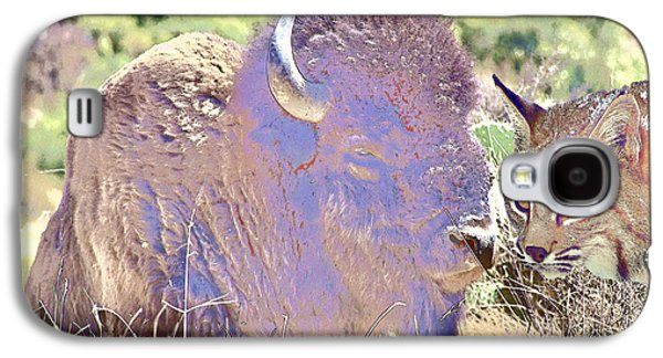 Bison Digital Art Galaxy S4 Cases - Bison and Friend Galaxy S4 Case by KJ DePace