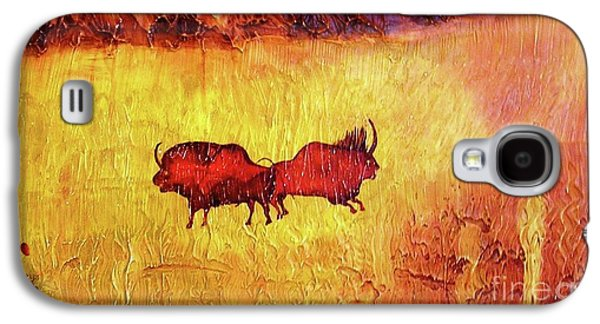 Bison Mixed Media Galaxy S4 Cases - Bison Galaxy S4 Case by Geegee W