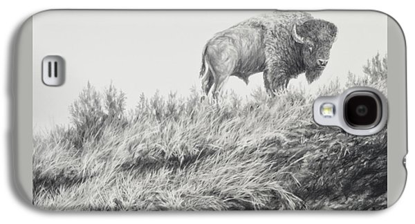 Bison Drawings Galaxy S4 Cases - Bison in Grass Galaxy S4 Case by Jim Young