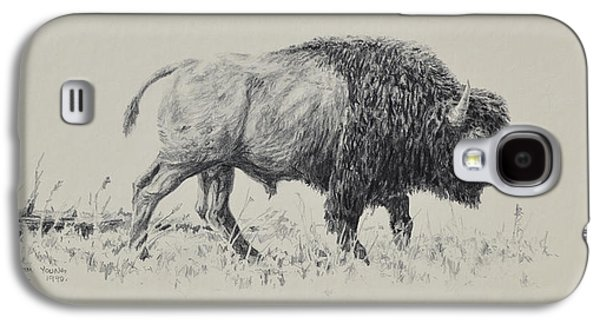 Bison Drawings Galaxy S4 Cases - Bison Galaxy S4 Case by Jim Young