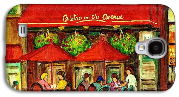 Luncheonettes Paintings Galaxy S4 Cases - Bistro On Greene Avenue In Montreal Galaxy S4 Case by Carole Spandau