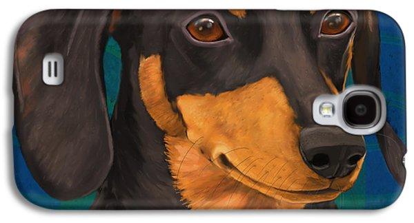 Dachshund Digital Art Galaxy S4 Cases - Black and Gold Dachshund Portrait on Blue Galaxy S4 Case by Idan  Badishi