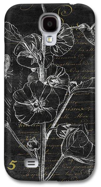 Botanical Galaxy S4 Cases - Black and Gold Hummingbirds 1 Galaxy S4 Case by Debbie DeWitt