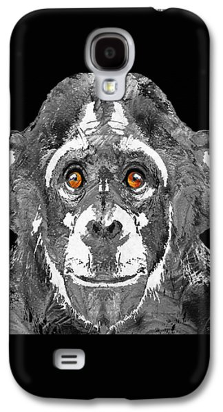 Creepy Paintings Galaxy S4 Cases - Black And White Art - Monkey Business 2 - By Sharon Cummings Galaxy S4 Case by Sharon Cummings