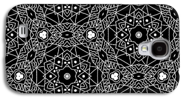 Black And White Boho Pattern 3- Art By Linda Woods Galaxy S4 Case by Linda Woods