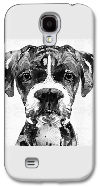 Boxer Galaxy S4 Cases - Black And White Boxer Dog Art By Sharon Cummings  Galaxy S4 Case by Sharon Cummings