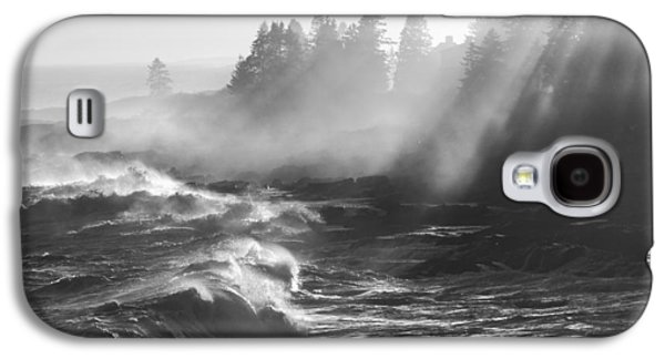 Crest Digital Art Galaxy S4 Cases - Black and White of Large Waves Lightbeams Pemaquid Point Maine Galaxy S4 Case by Keith Webber Jr
