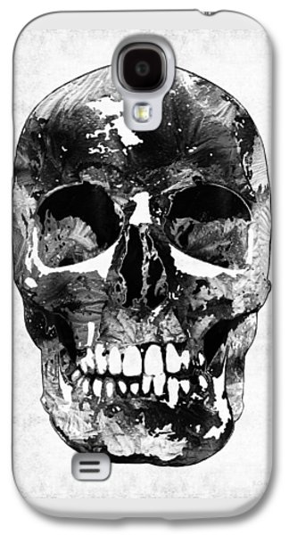 Macabre Galaxy S4 Cases - Black And White Skull by Sharon Cummings Galaxy S4 Case by Sharon Cummings