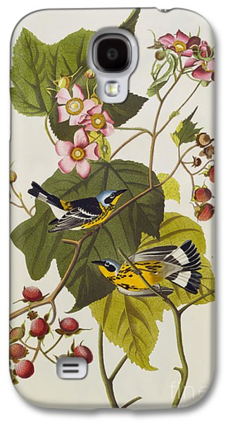 Black Drawings Galaxy S4 Cases - Black And Yellow Warbler Galaxy S4 Case by John James Audubon