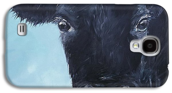 Angus Steer Paintings Galaxy S4 Cases - Black Angus Aggie Galaxy S4 Case by Karen King