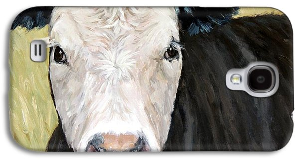 Black Angus Cow Steer White Face Galaxy S4 Case by Dottie Dracos
