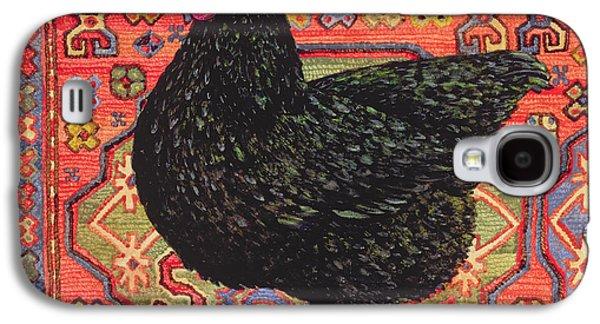 Persian Carpet Galaxy S4 Cases - Black Carpet Chicken Galaxy S4 Case by Ditz
