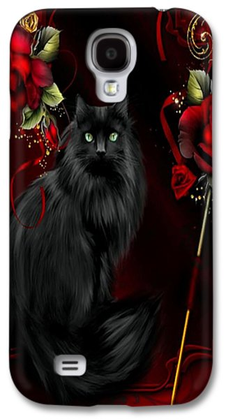 Digital Galaxy S4 Cases - Black Cat And Roses Galaxy S4 Case by G Berry