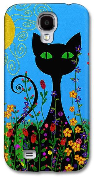 Floral Digital Art Digital Art Galaxy S4 Cases - Black Cat In Flowers Galaxy S4 Case by Sharon Norman