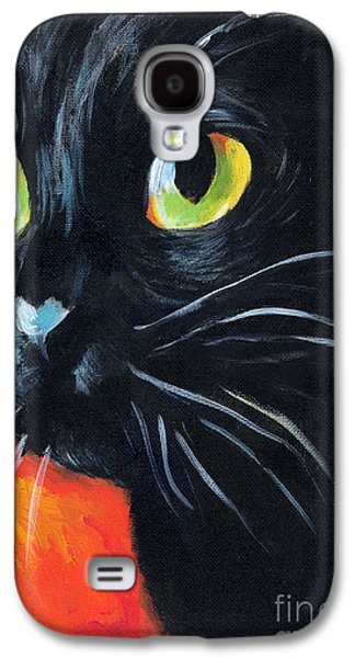 Black Cat Painting Portrait Galaxy S4 Case by Svetlana Novikova