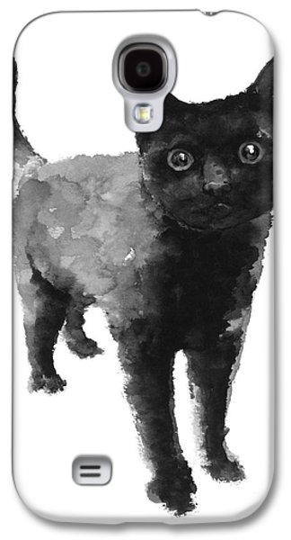 Black Cat Watercolor Painting  Galaxy S4 Case by Joanna Szmerdt