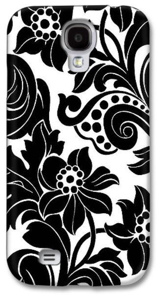 Black Floral Pattern On White With Dots Galaxy S4 Case by Gillham Studios