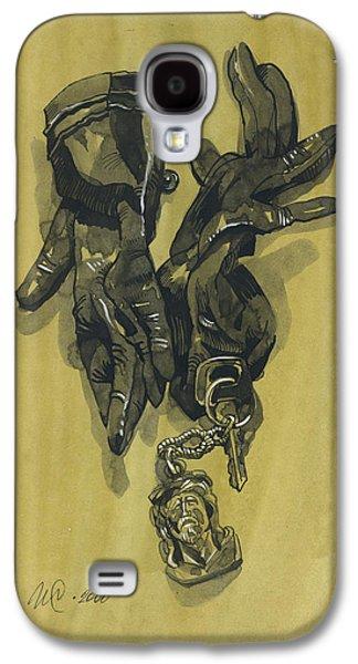 Interior Still Life Drawings Galaxy S4 Cases - Black Gloves and Bibelot. Paradox Still Life Galaxy S4 Case by Igor Sakurov