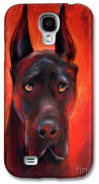 Texas Artist Galaxy S4 Cases - Black Great Dane dog painting Galaxy S4 Case by Svetlana Novikova