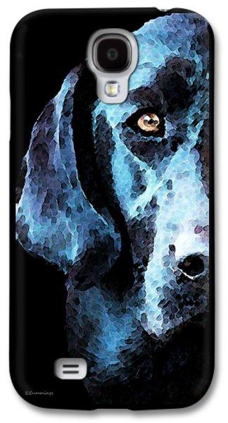 Labrador Digital Galaxy S4 Cases - Black Labrador Retriever Dog Art - Hunter Galaxy S4 Case by Sharon Cummings