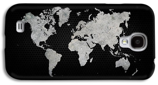 Industrial Digital Galaxy S4 Cases - Black Metal Industrial World Map Galaxy S4 Case by Douglas Pittman