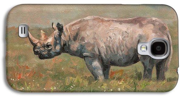Rhinoceros Paintings Galaxy S4 Cases - Black Rhino Galaxy S4 Case by David Stribbling