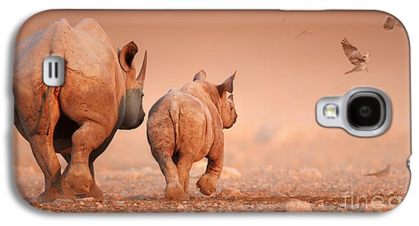 Young Birds Galaxy S4 Cases - Black Rhinos Galaxy S4 Case by Johan Swanepoel