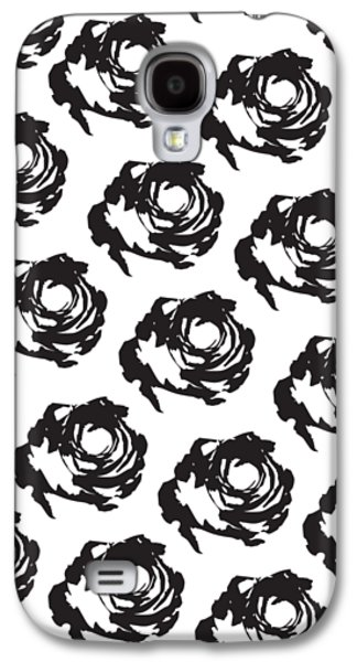 Black Rose Pattern Galaxy S4 Case by Cortney Herron