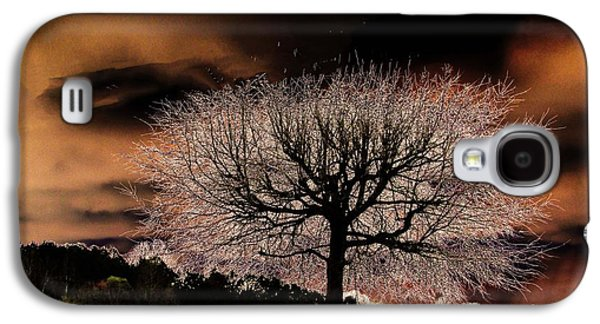 Surreal Landscape Pyrography Galaxy S4 Cases - Black Tree Galaxy S4 Case by Tracie Shelton