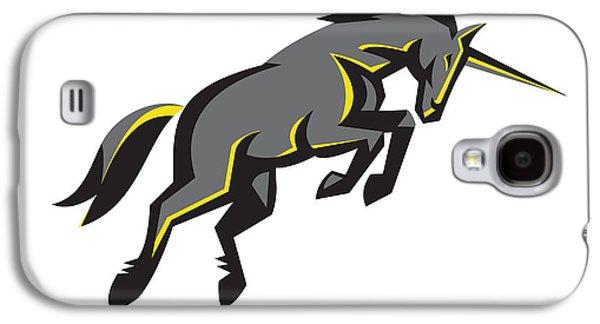 Black Unicorn Horse Charging Isolated Retro Galaxy S4 Case by Aloysius Patrimonio