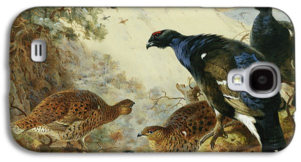 Blackgame Or Black Grouse Galaxy S4 Case by Archibald Thorburn