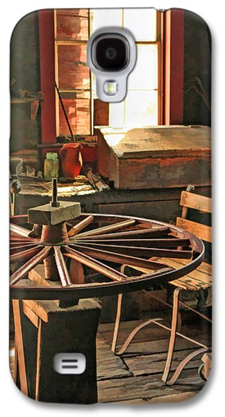 Old Barns Paintings Galaxy S4 Cases - Blacksmith Shop Wheel Repair at Old World Wisconsin Galaxy S4 Case by Christopher Arndt