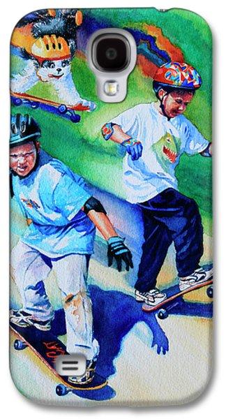 Kids Sports Art Galaxy S4 Cases - Blasting Boarders Galaxy S4 Case by Hanne Lore Koehler