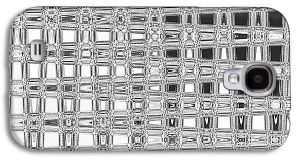 Digital Tapestries - Textiles Galaxy S4 Cases - Blocks Black Galaxy S4 Case by FabricWorks Studio