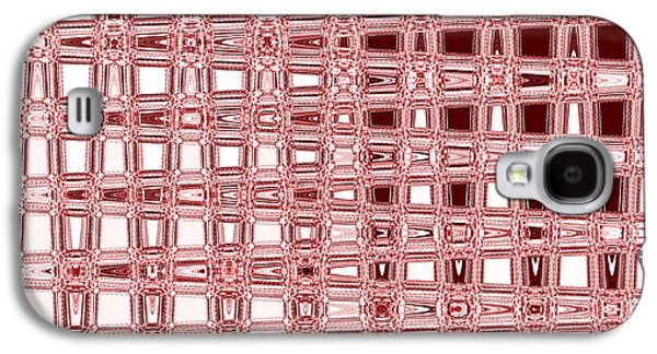 Digital Tapestries - Textiles Galaxy S4 Cases - Blocks Red Galaxy S4 Case by FabricWorks Studio