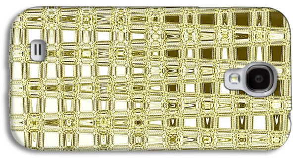 Digital Tapestries - Textiles Galaxy S4 Cases - Blocks Yellow Galaxy S4 Case by FabricWorks Studio