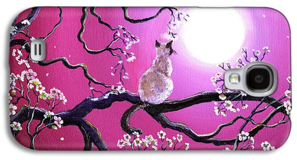 Cherry Blossoms Paintings Galaxy S4 Cases - Blossoms in Fuchsia Moonlight Galaxy S4 Case by Laura Iverson