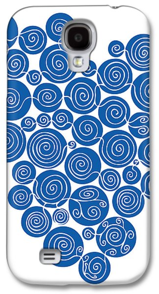 Hand Drawn Galaxy S4 Cases - Blue Abstract Galaxy S4 Case by Frank Tschakert