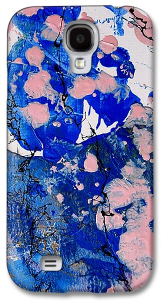 Business Galaxy S4 Cases - Blue and Pink Abstract Galaxy S4 Case by Louise Adams