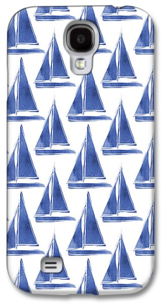Blue And White Sailboats Pattern- Art By Linda Woods Galaxy S4 Case by Linda Woods