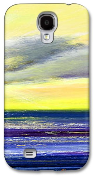 Colorful Abstract Galaxy S4 Cases - Blue and Yellow Tropical Sunset Galaxy S4 Case by Gina De Gorna