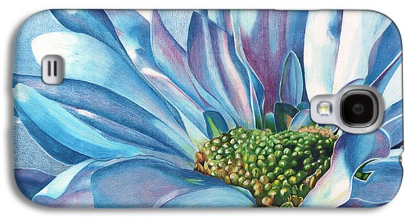 Colored Pencil Paintings Galaxy S4 Cases - Blue Galaxy S4 Case by Angela Armano