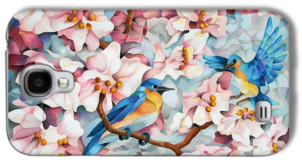 Cherry Blossoms Pastels Galaxy S4 Cases - Blue Blossoms of Happiness Galaxy S4 Case by Marilyn Callahan